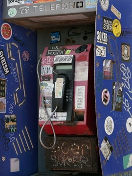 Phone box, El Golfo, Lanzarote, Canary Islands, Spain.